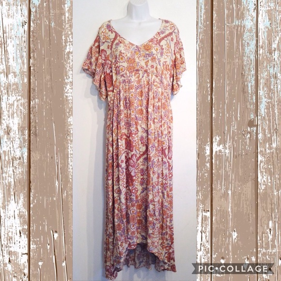SUNDANCE Plus Size Boho Hippie Floral Maxi Dress